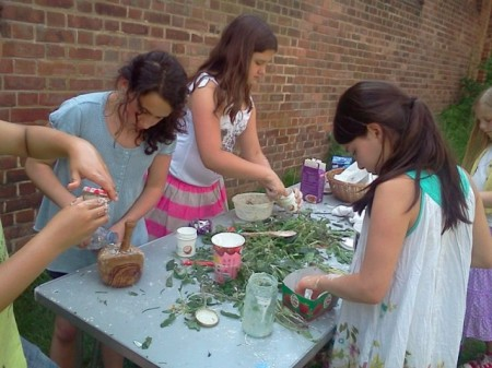 Fitzjohn's perfumery using school-grown herbs.